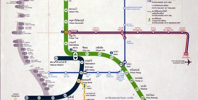 Транспортная схема Бангкока - скоростные линии и метро